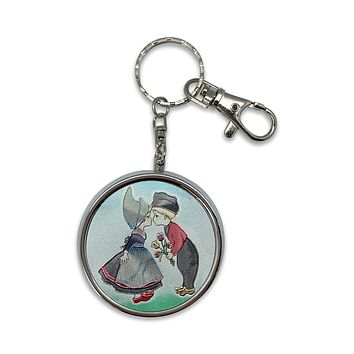 Kissing Couple Metal Round Pill Box Keychain