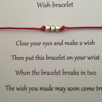 TINY HEARTS Friendship Wish Bracelet .. Complete with Wish Card .. Perfect thoughtful gift idea .. Choice of colours to choose from ..