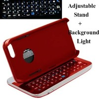 Case MaMa Multifunction Bluetooth Keyboard Case Sliding Function + Standing Function + Backlight Function + 12 Button Specially Designed for Iphone 5 Iphone5 I5 - Four Colors (Red Rim with Red Keyboard (Limited Edition))