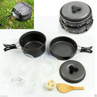 Onfine new arrivel 8pcs Outdoor Camping Hiking Cookware Backpacking Cooking Picnic Bowl Pot Pan Set Free shipping Brand New