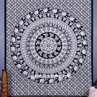 Black And White Mandala Wall Hanging, Elephant Hippie Bohemian Tapestry, Indian Bedspread, Bedding Throw Ethnic Decor, Boho Beach Tapestry