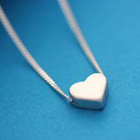 Heart Necklace On Sterling silver chain . Tiny Small  Silver heart