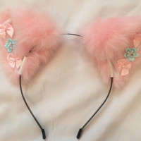 Pink Crystal Bow Ears