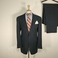 Vintage Mens suit, vintage clothing 80's by Austin Reed for Marshall Fields's Two Piece Two Button Blue Windowpane plaid 42L