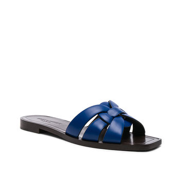 Saint Laurent Leather Nu Pieds Slides in Blue Majorelle | FWRD