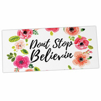 "KESS Original ""Don't Stop Believin"" Coral White Desk Mat"