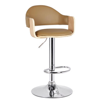 Malmberget Beidge Leatherette Modern Bar Stool with Arm - Adeco - CH0119