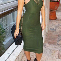 Shiny Green Bodycon Dress