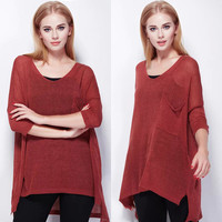 Burgundy Semi Sheer Knit High-Low Blouse