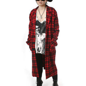 RTBU Punk Rock Boyfriend Flannel Tartan Slouchy Oversized Blazer Trench Coat