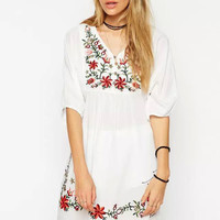 White Floral Embroidery V-Neck Half Sleeve Mini Dress
