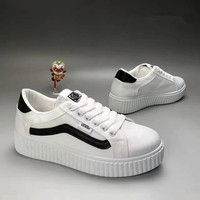 """""""VANS"""" Fashion Casual Stripe Canvas Thick Bottom Plate Shoes Women Sneakers"""