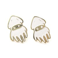 Super Mario Themed Squid Blooper Shaped Stud Earrings in Gold   Limited Edition Jewelry