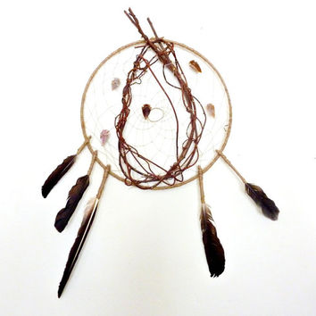 Dreamcatcher // Warrior Shield. Arrowheads & Feathers. Very Large One of a Kind Art.