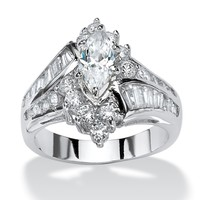3.20 TCW Marquise-Cut Cubic Zirconia Platinum-Plated Engagement Anniversary Ring