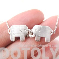 Elephant Linked Friendship Animal Pendant Necklace in Silver | DOTOLY