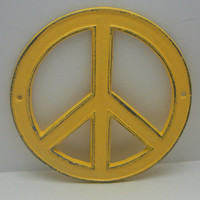 Peace Sign Sunny Lemon Yellow Cast Iron Circle Wall Decor Rustic Retro Funky 70's Style Shabby Chic Distressed Weathered Wall Art Sign
