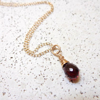 Wire Wrapped Garnet Necklace 14K Gold Filled Dainty Necklace January Birthday red gemstone