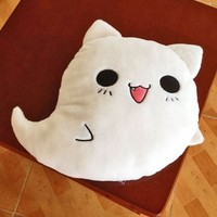 Ghost Cat Pillow Emoji