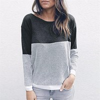 fhotwinter19 new round neck two-wear stitching long-sleeved pullover top women's clothing