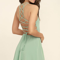 Good Deeds Sage Green Lace-Up Dress