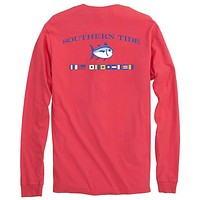 Long Sleeve Nautical Flags Tee Shirt in Fire Red by Southern Tide