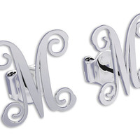 Monogram earrings Personalized Name Silver Earrings, letter earrings initial earrings, nameplate earring