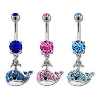 """Gem Whale Belly Ring, 14G 3/8""""-Pink-Sold Individually"""