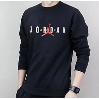 Jordan New Fashion Autumn And Winter Letter Flying Man Print Men Long Sleeved Sweater Top Black