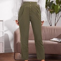 High Waist Casual Pants Women  Solid Green Trousers High Waist Green Ruffles Vintage Pants