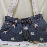 Denim Purse Stars and Lace  OOAK by bagsbyhags45 on Etsy