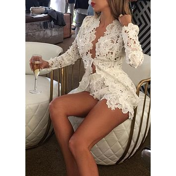 Flora White Lace Dress CLEARANCE SIZE S/M