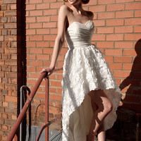 strapless sweetheart high-low style lace short wedding dress