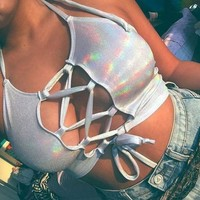 Holographic Rave Crop Top