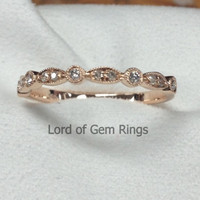 Pave Diamond Wedding Band Half Eternity Anniversary Ring 14K Rose Gold SI/H Diamonds Art Deco Antique