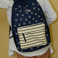 Navy Style Canvas Backpack with Anchor from topsales