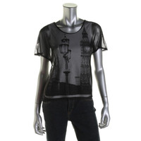 Style & Co. Womens Petites Mesh Overlay Embellished Casual Top