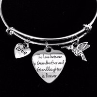 The Love between a Granddaughter and Grandmother is Forever Expandable Charm Bracelet Adjustable Bangle Gift