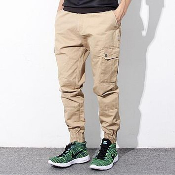 Hip Hop Mens Skinny Cargo Pants Black Khaki And Blue Joggers With Pockets On Side For Men Chino Pant
