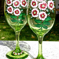 Hand Painted Green Wine Glasses With Crystal Wine Charms