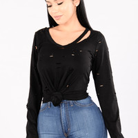 Roughed Up Top - Black
