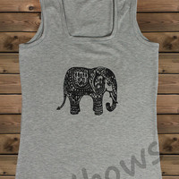 Women's Tank,Elephant on a u Ladies Tank,Screen Printing Tank,Women's Tank,Gray Tank,Size S, M, L