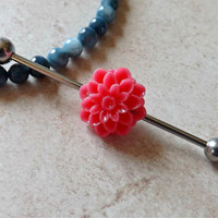 Deep Pink Flower Industrial Barbell Stainless Steel Body Jewelry Upper Ear