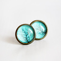 Teal Tree Branch Stud Earrings - Gift For Her Under 20usd PRE ORDER/BACKORDERED