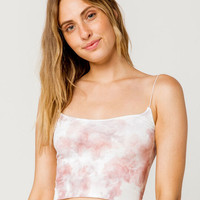 FULL TILT Seamless Tie Dye Pink Womens Crop Cami