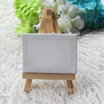 10 sets Mini Display Easel WIth Canvas 7*5cm