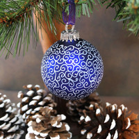 Dazzling, Eye-catching Endless Swirls, Hand Painted Glass Christmas Ornament, Royal Purple with White Swirls, Christmas Ball, Great Gift