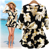 Women's Trending Popular Fashion 2016 Floral Printed Strappy V Neck Romper Trousers Pants _ 5543