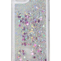 Glitter Case for iPhone 5S,Turpro Hard Transparent Clear Creative Funny 3D Quicksand Liquid Sparkles Glitter Bling Case with Stars for iPhone 5 5S(Silver)
