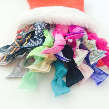20 Assorted Christmas Stocking Hair Ties Ponytail Holder Collection by Elastic Hair Bandz